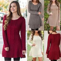 Damen Strickkleid Zopfmuster Langarm Pullover Pulli Kleid Minikleid Sweater