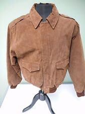Global Identity Vintage G-lll Bomber Jacket Suede Brown Leather Size Medium