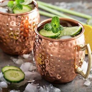 2x Heiß Moscow Mule Becher Tassen Kupferbecher Kupfer Cocktailgläser Becher -DE