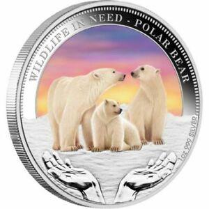 2012 PM $1 1oz Silver Coloured Wildlife in Need Series Polar Bear Coin D6-1486
