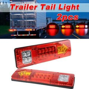 Pair 19 LED Tail Light Car Truck Trailer Stop Rear Reverse Turn Indicator Lamps