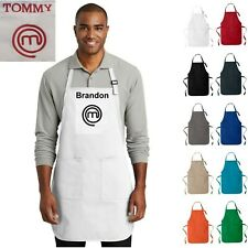 Custom Name Masterchef Apron with Pockets Adult Chef Bib Apron Personalized