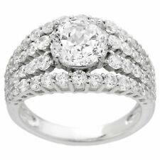 """QVC NEW DIAMONIQUE EPIPHANY 100 FACET MULTI-ROW STERLING SILVER RING  """"SIZE: 10"""""""