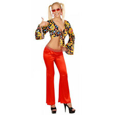 Red 60s 70s Bright Bell Bottom Flared Flower Power Trousers Fancy Dress Disco