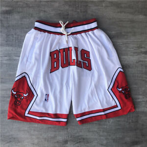New Men's White Color Chicago Bulls Vintage Basketball Shorts Pants NWT Stitched