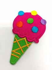 Pink Ice Cream Cone Embroidered Iron On Patch A314