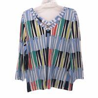 Carlisle Womens Blouse Multicolor Blue Stripe Long Sleeve V Neck Stretch 2XL