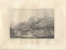Stampa antica TORNO LAGO DI COMO veduta dal lago Chevallier 1855 Antique print