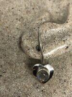 Vintage Heart Earrings Rainbow Moonstone 925 Sterling Silver Dangle
