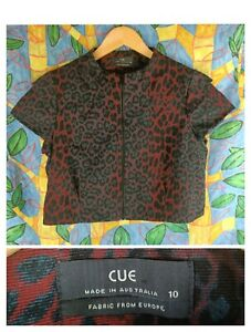 Cue 10 Cropped Jacket Short Sleeve Red Black Leopard Animal Print zip front