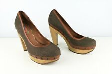 PAUL SMITH (UK 4) IT 37 Leather Trim Heels Court Shoes Pumps Canvas Olive