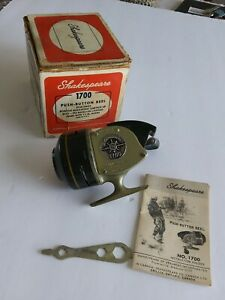Vintage Shakespeare 1700 Spin Cast Reel Original Box Paper Work Wrench