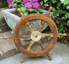 "18"" Wood / Brass Ship Wheel ~ Nautical Maritime Wall Decor ~ Pirate Captain gift"
