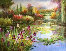 Claude Monet Colorful Water Lily Pond Repro 14 Hand Painted Oil Painting 36x48in