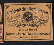 Ancienne   étiquette allumette de paquet Suède BN4398 Ancre Allemagne