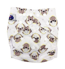 MODERN CLOTH NAPPIES MCN DIAPERS POTTY REUSABLE ADJUSTABLE PUG DOGS SHELL