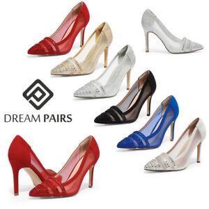 DREAM PAIRS Women's High Heel Rhinestone Pointed Toe Wedding Party Pump Shoes