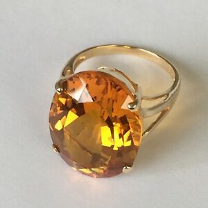 New 14k Solid Yellow Gold Y/G Citrine Ring Oval, 15*20mm, SZ-7, P0608012