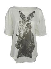Smoking hare print top shirt womens ladies oversized tshirt rabbit