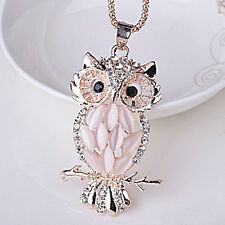 Gold Plated Owl Animal Crystal Rhinestone Necklace Pendant Chain Leaf Festival