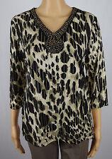 JM Collection Petite Womens Black/Beige/Gold Embellished Blouse Top Size PL