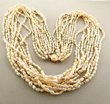 "Vintage 14k Gold Biwa Pearl Necklace 10 Strands .75 x 25"""