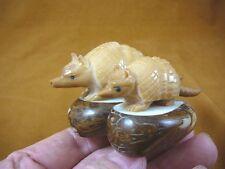 (TNE-ARM-518A) Armadillo family Dillo TAGUA NUT palm Figurine carvingarmadillos
