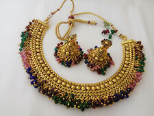 Bollywood Ethnic Gold Traditional Indian Fashion Jewelry Colourfull Necklace