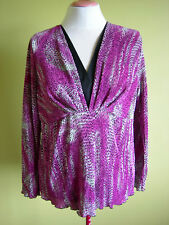 Ladies Womens Pleated Long Sleeve Stretch Blouse Shirt Top Pink Millers Size 18