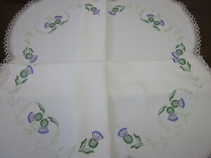 SCOTTISH THISTLES BEAUTIFULLY  HAND EMBROIDERED PURE LINEN TABLECLOTH