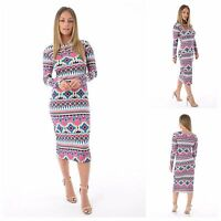 WOMENS LADIES LONG SLEEVE MULTI AZTEC PRINTED BODYCON MIDI DRESS PLUS SIZE 8-22