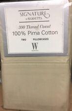Wamsutta Signature * 300tc Pima Cotton*2- Standard/Queen Pillowcases * Pebble