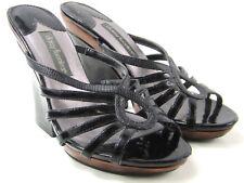 "DAISY FUENTES Women's Black / Bronze Mules size 6 Open Toe  Strappy 4 1/2"" heels"