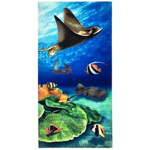 """30""""x60"""" Stingray Coral Reef Velour Beach Towel """"Made in Brazil"""""""
