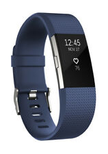 Fitbit Charge 2 large Fitness-Tracker Touch-Display Herzfrequenz-Messung Bl,Sil