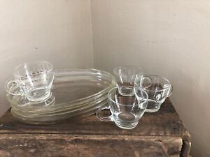 Vintage Set of 4 Art Deco Clear Glass Dessert and Cup Plates