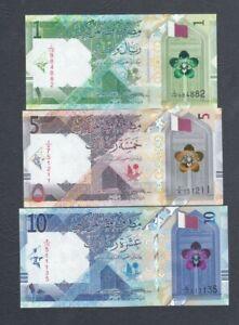 Qatar Central Bank - 1, 5, 10 Riyals mini set 2020, 5th Series, All Uncirculated