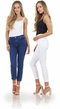 Ladies Skinny Fit Ankle Length Crop Women Zip Stretch Jeans