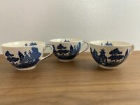 Set 3 Blue & White Porcelain Tea Cups Fine China Collection - England - Vintage