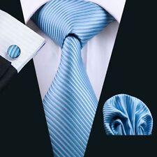 Hellblau Blau Türkis Streifen Seide Krawatte Set Einstecktuch Knöpfe Breit K178