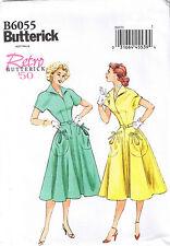 Vtg 50 Pullover Rockabilly Dress Collar Tie Pocket Sewing Pattern 14 16 18 20 22