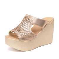 Womens Summer Wedge Sandals PU Leather Casual Slippers Peep Toe Shoes Plus Size