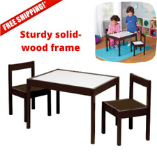Kids Study Table and Chair Set Wood Activity Dry Erase Cover 3 Pc Playroom Toy