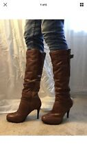 High heel cognac leather boots Size 7 Ladies