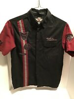 Harley Davidson Mens Short Sleeve Button Up Shirt Size Small Black Embroidered