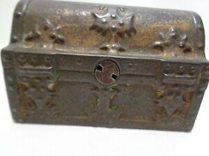 Cast Iron Pirate Treasure Chest Still Coin Bank Small Size