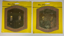 Vintage Brass & Oak Wood Double Wall Switch Plate Cover New In Package