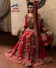 ZARI RED SILK WEDDING WEAR BRIDAL LEHENGA CHOLI LENGHA DESIGNER INDIAN ETHNIC