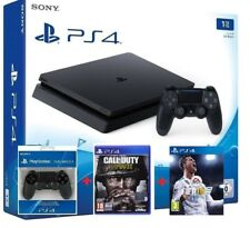 PS4 CONSOLE 1TB PLAYSTATION 4 NERA+ 2CONTROLLER+ FIFA18+ CALL of DUTY WWII NUOVA