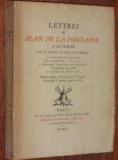 LETTRES de JEAN DE LA FONTAINE à SA FEMME sur un voyage en Limousin 1920 grav.